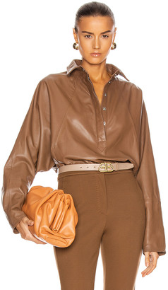 Marissa Webb Madi Leather Tunic Top in Cognac | FWRD