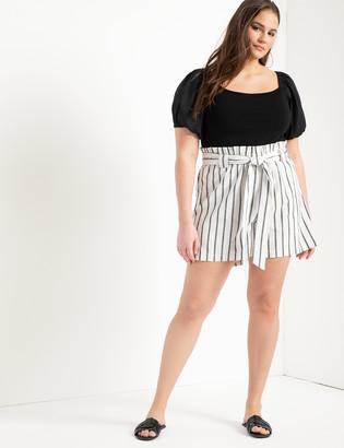 ELOQUII Tie Waist Linen Shorts