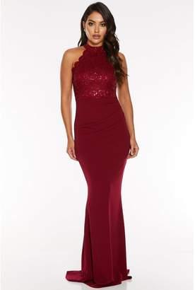 Quiz Berry Sequin Lace Scallop Edge Fishtail Maxi Dress