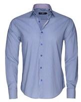 Stone Rose Men's Royal Blue Technical Stripe Button Up Shirt.