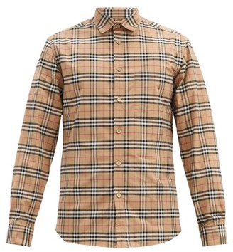 Burberry Simpson Small Scale-check Cotton-blend Shirt - Beige