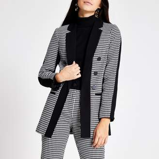 River Island Womens Black dogtooth check print boyfriend blazer