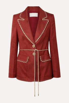 Peter Pilotto Braid-trimmed Woven Blazer - Claret