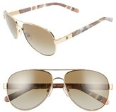 Tory Burch Women's 57Mm Aviator Sunglasses - Gold/ Brown