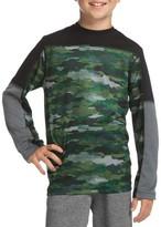 Hanes Boys 6-20 Long Sleeve Pieced Active Performance T-Shirt