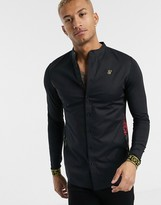SikSilk long sleeve shirt in black with floral panels