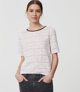 LOFT Striped Floral Lace Tee