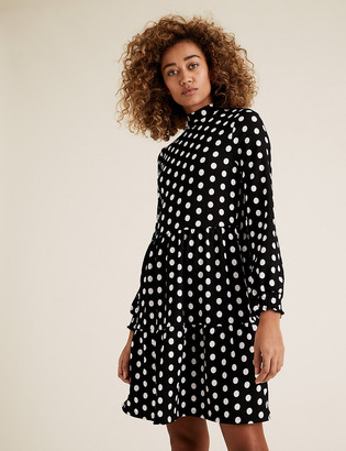Marks and Spencer Jersey Polka Dot Mini Tiered Dress
