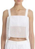 3.1 Phillip Lim Bandeau-Insert Sheer Cotton Eyelet Cropped Top