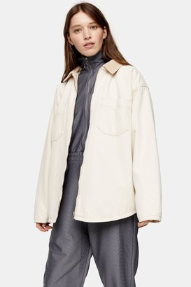 Topshop Womens Considered Ecru Reversible Denim And Corduroy Shacket With Recycled Cotton - Ecru