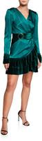 Bronx and Banco Romi V-Neck Long-Sleeve Mini Satin Dress w/ Velvet Flounce Hem