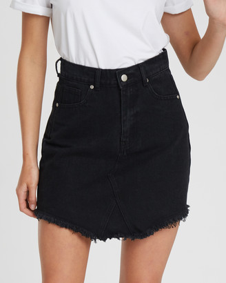The Fated - Women's Black Denim skirts - Rebel Distressed Denim Skirt - Size One Size, 6 at The Iconic