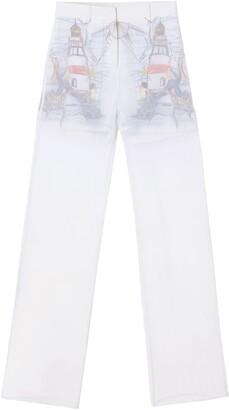 Burberry Chiffon Overlay Marine Sketch Print Silk Shorts