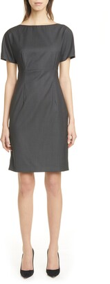 HUGO BOSS Diluva Vichy Check Wool Sheath Dress