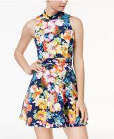 Emerald Sundae Juniors' Mock-Neck Cutout-Back Dress