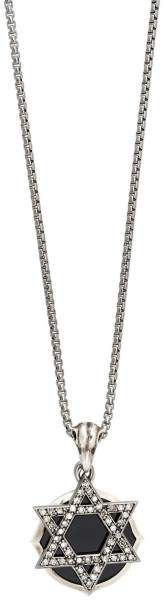 Stephen Webster 925 Sterling Silver Diamond Jewish Star Double Plate Pendant Necklace