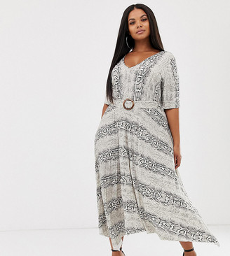 Asos DESIGN Curve v neck midi dress with pleated skirt and belt in snake print