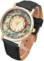 ABC Women's Watch, Women's Fashion Pastorale Floral Leather Band Watch Analog Quartz Watch Dial Wrist Watch