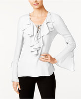 ECI Ruffled Lace-Up Blouse
