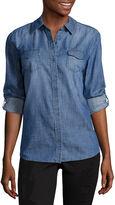 Arizona Long Sleeve Snap-Front Denim Shirt-Juniors