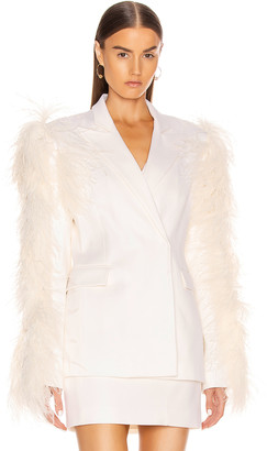 David Koma Feather Sleeved Tailored Jacket in White | FWRD