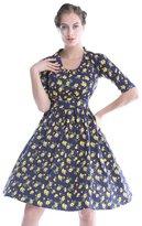 Sapphyra® Women's Celebrity Floral Print Low Cut Neck Short Sleeve Skater Dress