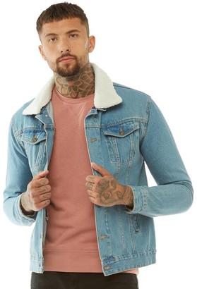 Brave Soul Mens Larson Detachable Borg Collar Denim Jacket Light Blue Denim/Cream Borg