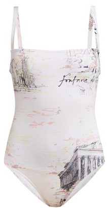 Emilia Wickstead Scarlet Square-neck Italy-print Swimsuit - Womens - Pink Print