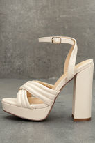 Liliana Serilda Cream Platform Ankle Strap Heels
