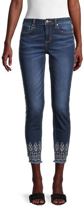 Miss Me Mid-Rise Embroidered Ankle Skinny Jeans