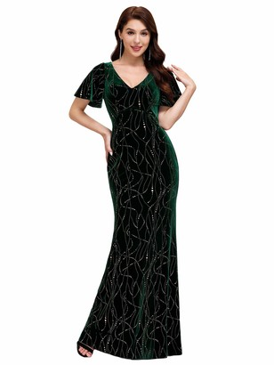 Ever Pretty Ever-Pretty Women's V Neck Elegant Long with Short Sleeves Bodycon Velvet Wedding Party Dresses Dark Green 20UK