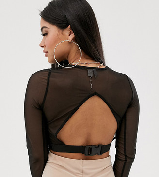 Asos DESIGN Petite long sleeve mesh top with cut out front and clip back