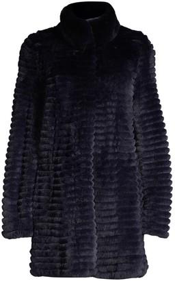 Glamour Puss Rib-Texture Rabbit Fur Coat
