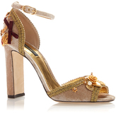 Dolce & Gabbana Embellished Velvet Heeled Sandals