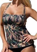 Aribelly Woman's Sexy Two Piece Army Suits,Camouflage Green Beach Bikini Swimsuit
