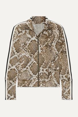 Norma Kamali Striped Snake-print Stretch-jersey Track Jacket - Snake print