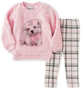 Kids Headquarters Baby Girls Two-Piece Faux Fur Puppy Sweater and Checked Leggings Set