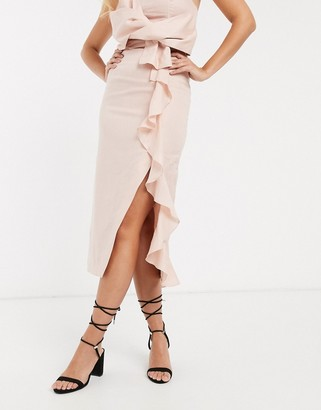 Collective The Label ruffle skirt co-ord in pink