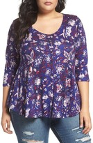 Lucky Brand Plus Size Women's Floral Swing Top