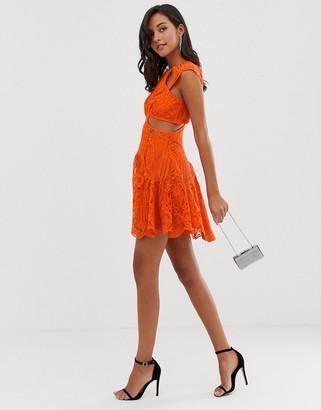 Asos Design DESIGN mini dress with trumpet hem in cutwork lace-Multi