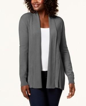 Karen Scott Plus Size Ribbed-Bottom Shawl-Collar Cardigan Sweater, Created for Macy's