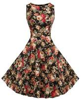 Lecimo Vintage 1950's Floral Summer Spring Garden Party Picnic Cocktail Dress (, Size XL)