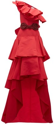 Johanna Ortiz Cumbia Y Luceros Ruffled Silk Faille Gown - Womens - Red