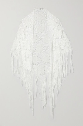 Miguelina Majandra Fringed Crocheted Cotton Shawl - White