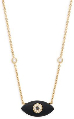 Effy 14K Yellow Gold, Onyx & White & Black Diamond Pendant Necklace