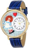 Whimsical Watches Vintage Raggedy Ann Royal Blue Leather and Goldtone Unisex Quartz Watch with White Dial Analogue Display and Multicolour Leather Strap G-0220004