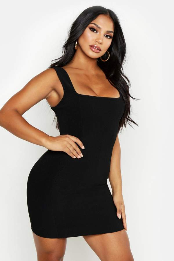5dc80bf7a83d boohoo Black Square Neck Day Dresses - ShopStyle