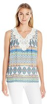 NY Collection Women's Printed Sleeveless Key Hole Top with Crochet Trim AT Neck