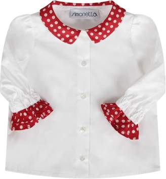 Simonetta White Babygirl Shirt With Polka-dots
