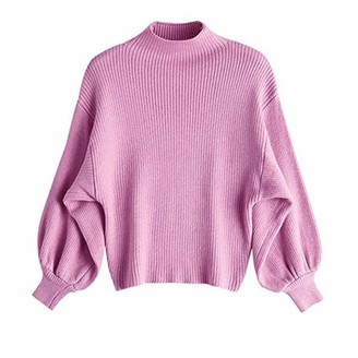 Gphui Women Baggy Bat Sweater Half Turtleneck Solid Color Knitted Jumper Autumn Winter Long Puff Sleeve Drop Shoulder Pullover Purple